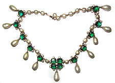 GASP! Vintage 50s Glam ACCESSOCRAFT Green RS Faux Pearl Necklace