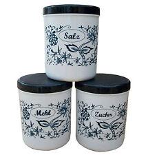 3 Gewürzdosen mit Zwiebelmuster Salz, Mehl, Zucker, ca. 1,1Liter, Gewürzbehälter