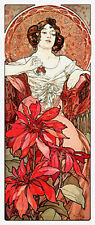 15% off Scarlet Quince Counted X-stitch Chart-Ruby by Alphonse Mucha-Large Print