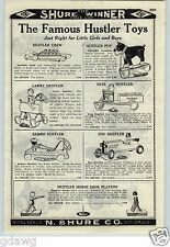 1926 PAPER AD Hustler Toys Rowing Crew Sambo Doc Pete Cast Iron Fordson Tractor