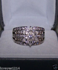 QVC sterling silver Diamonique DQCZ cluster Flower wide Ring 9 SW