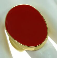 Kenneth Jay Lane Polished Gold Red Enamel Cocktail Ring Sz.- 8