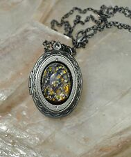 Purple Dragons Egg Glass Opal Antiqued silver Victorian Locket Pendant Necklace
