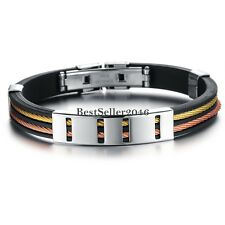 Colorful Stainless Steel Rope Black Silicone Cuff Bangle Men's Bracelet 7.5 Inch