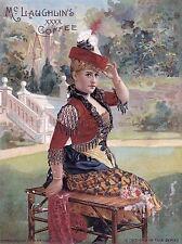 Publicité café McLaughlin formelle femme banc jardin Art Poster Print lv116