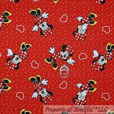 BonEful Fabric Cotton Quilt Red Dot Minnie Mouse Disney Heart Girl Flower SCRAP