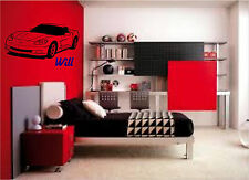 Sports Car Corvette & Personalized Name Wall Sticker Wall Art Decor Stickers