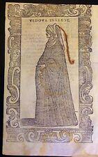 UNITED KINGDOM/REINO UNIDO Vedova  inglese.Xilografía original.Vecellio, 1590