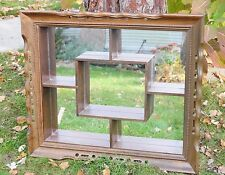 Huge Vintage Midcentury Modern Shadow Box Wall Shelf Mirror Wood Frame Shadowbox