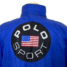 80s Polo Sport Ralph Lauren Windbreaker Jacket XXL Mens Blue USA Flag