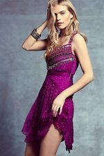 NWT FREE PEOPLE WOMEN Sz6 JEWELED CHEVRON BEADED MINI DRESS FUCHSIA $350.