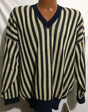 Vintage Dunhill V Neck Sweater Made in Italy 100% Cotton Knit Men's size XL