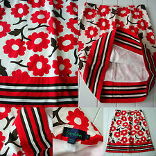 Boden A Line Skirt sz 12 R Ivory With Red Flowers brown stem 100% Cotton lined