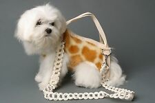 L GIRAFFE color pet small dog carrier harness sling puppy purse beige white
