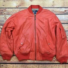 POLO RALPH LAUREN LEATHER BOMBER L JACKET A2 Flight VTG Orange Sport Hip Hop