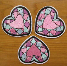 2pcs Heart Embroidery Sew Iron On Patch Badge Clothes Transfers Fabric Applique
