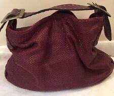 Authentic Be&D Red Leather Weaved Large Tote Bag With Gold Buckles