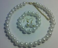Pearl Jewelry Set New White Necklace Bracelet Earring 16 inch 6 mm Acrylic Bead