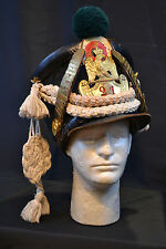 ANTIQUE FRENCH NAPOLEONIC ERA OFFICERS SHAKO HAT WITH CORDS AND CHIN SCALES