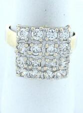 LADIES 10K YELLOW GOLD 3/4ct CZ SQUARE HIGH PARTY RING