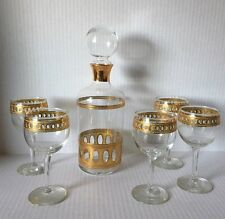 7 Pc. Hollywood Regency Culver Glass Antigua Brandy Decanter / Goblet Set