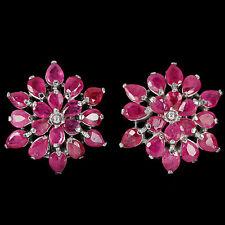 925 plata esterlina genuino Natural Pera Cortada Rosa pendientes de rubíes de cluster
