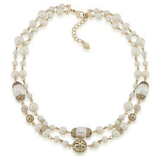 CAROLEE 'Material Girl' Glass Pearl Gold-Tone Double Row Necklace $110