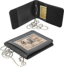 Black Leather Law Enforcement ID Holder With Neck Chain