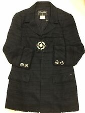 CHANEL 07A CLASSIC NAVY TWEED FRINGED JEWELED BUTTONS JACKET COAT 42 40 RARE