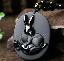 100% Natural Black Obsidian Carved Chinese Zodiac Rabbit Pendant +Beads Necklace