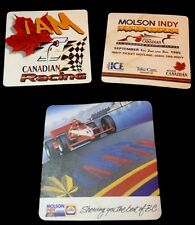 3 Beer Coaster MOLSON Lager Biere ~ I Am Canadian Rare Racing Coasters Maple