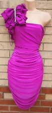 RIVER ISLAND PURPLE LYCRA MESH RUCHED ONE SHOULDER GRECIAN PARTY TUBE DRESS 10 S