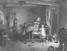 COUNTRY FARM KIDS CHILDREN PLAY IN COTTAGE TEASE CAT ~ 1867 Art Print Engraving