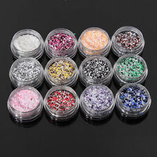12 Colors Nail Art Tips Decoration Set Hexagon Glitter Powder For UV Acrylic