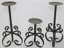 3 VTG Gothic Castle Scrolly Ornate Pillar Candle Holder Metal  Wrought Iron