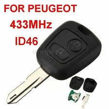 FOR PEUGEOT 206 2 BUTTON REMOTE KEY FOB 433MHz + Transponder Chip + UNCUT BLADE