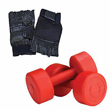 Fitfly 10kg (5kg x 2) PVC Dumbbell Set With Hand Gloves Combo Gym