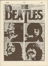 Beatles Black & White Faces Altered Art Print Upcycled Vintage Dictionary Page