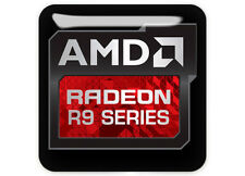 "AMD Radeon Graphics R9 Series 1""x1"" Chrome Domed Case Badge / Sticker Logo"