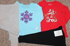 New! Girls 4 pc Outfit/Lot/Set (2 Shirts, 2 Leggings; Let it Snow)- Size 24 mo