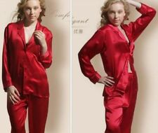 Gift  Women Silk Satin Pajamas Pajama Set Sleepwear Set  Loungewear Red  XL