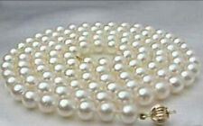 8-9mm white round salt water Cultured pearl necklace 25""
