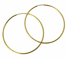 14K Yellow Gold 1.5mm Thickness Polished Large Endless Hoop Earrings 55mm 2-1/8""