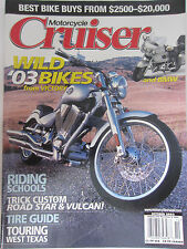 Motorcycle Cruiser Magazine October 2002 Wild '03 Bikes from Victory and BMW