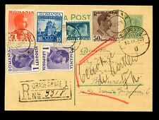ROMANIA REGISTERED POSTCARD STATIONERY 1937...6 STAMPS UPRATING