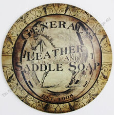 Leather & Saddle Soap TIN SIGN vintage advertising western horse tack wall decor