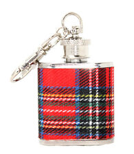 1oz Red Scottish Tartan Stainless Steel Keyring Hip Flask Wedding Gift