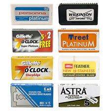 55 Premium Double Edge Safety Razor Blades - Variety Pack with different brands