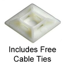Self Adhesive Cable Tie Bases 19mm X 19mm  Natural INCLUDES FREE CABLE TIES X 25
