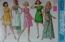 Vintage 1960s Sewing Pattern Simplicity 8201 Bohemian Maxi Baby Doll Dress B32.5